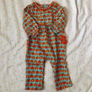 Other - Baby girl fall outfit, pumpkins and teal, 9 mo